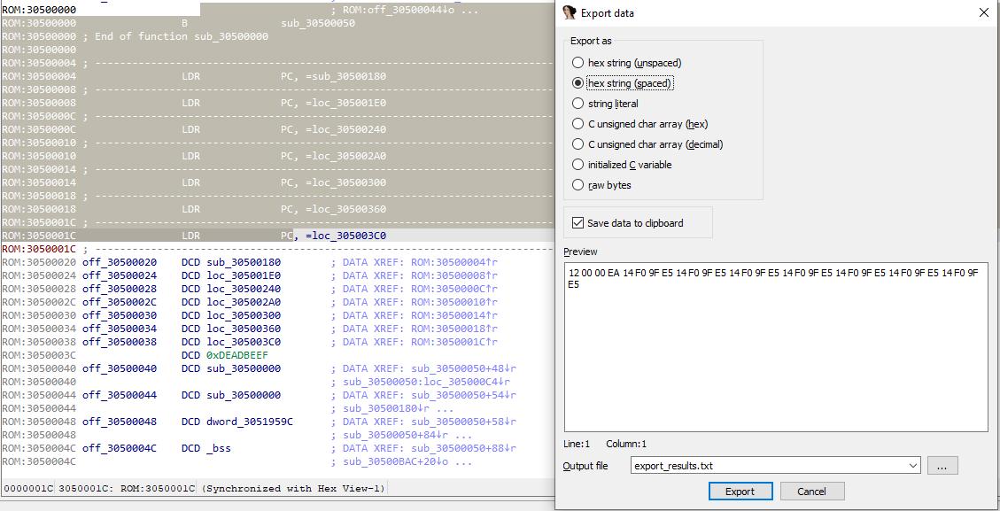 Export Data dialog screenshot